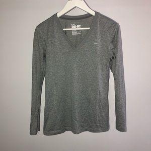 Gray Nike Dri-fit long sleeve top